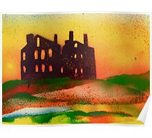 Derelict mansion at sunset Poster