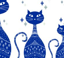 Blue Cats Illustration Sticker