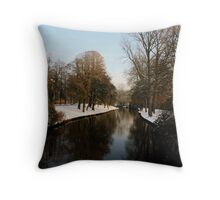 Snowy river in Bruges Throw Pillow