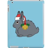 Gray Arctic Hare with Red Santa Hat, Holly & Gold Bell iPad Case/Skin