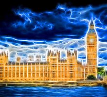 Big Ben and Houses of Parliament with Thames by NeonAbstracts