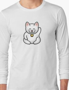 A fat maneki neko waving Long Sleeve T-Shirt