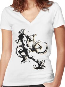 Cyclocross mud Women's Fitted V-Neck T-Shirt