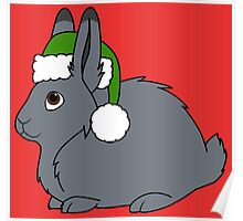 Gray Arctic Hare with Christmas Green Santa Hat Poster