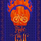Ride like Hell Calligraphic cycling poster by SFDesignstudio