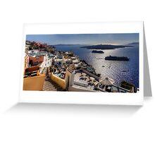 Cruise Ships in the Caldera Greeting Card