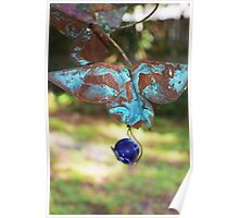 Patina Butterfly with Blue Marble Poster