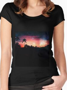Galactic Sunset Women's Fitted Scoop T-Shirt
