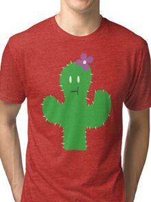 Cutesy Flower Cactus Tri-blend T-Shirt