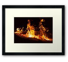 Log Fire Campsite Flames Oil Painting Framed Print