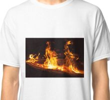 Log Fire Campsite Flames Oil Painting Classic T-Shirt