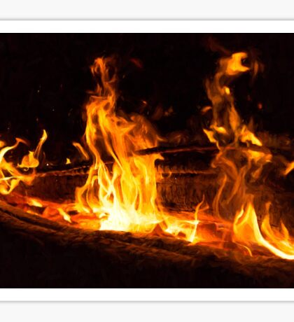 Log Fire Campsite Flames Oil Painting Sticker