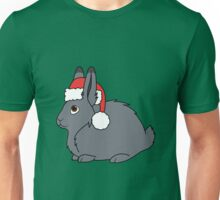 Gray Arctic Hare with Christmas Red Santa Hat Unisex T-Shirt
