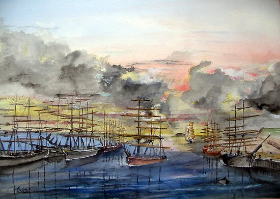 OLD SAN PEDRO - California 1850 by Rob Beilby