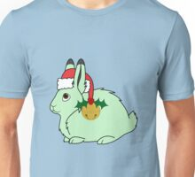 Light Green Arctic Hare with Santa Hat, Holly & Gold Bell Unisex T-Shirt