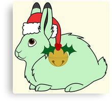 Light Green Arctic Hare with Santa Hat, Holly & Gold Bell Canvas Print