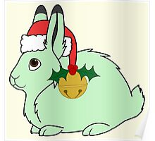 Light Green Arctic Hare with Santa Hat, Holly & Gold Bell Poster
