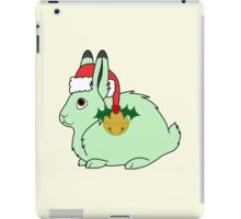 Light Green Arctic Hare with Santa Hat, Holly & Gold Bell iPad Case/Skin