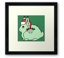 Light Green Arctic Hare with Santa Hat, Holly & Silver Bell Framed Print