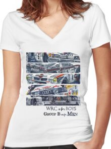 WRC is for boys, Group B was for men Women's Fitted V-Neck T-Shirt