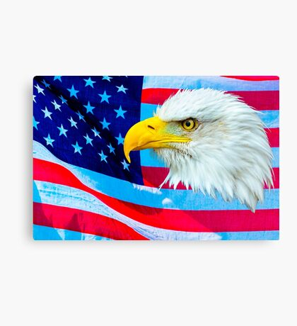 Bald Eagle Head over Stars and Stripes Canvas Print