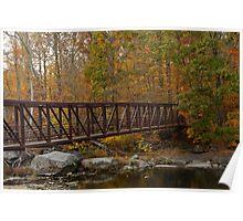 Footbridge Across A Stream - Rural Pennsylvania in Autumn Poster