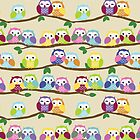 Cute Colorful Owls on Branches by Veronica Guzzardi