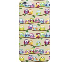 Cute Colorful Owls on Branches iPhone Case/Skin