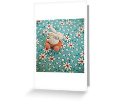 Bunny on Blue Greeting Card