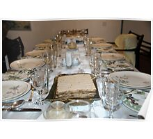 Table set for a Jewish Festive meal on Passover  Poster
