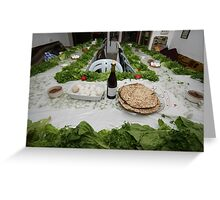 Table set for the Pesach (Passover) traditional Seder feast Greeting Card