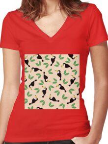 Tropical Jungle Bird Summer Pattern Women's Fitted V-Neck T-Shirt