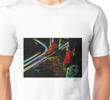 Woman Wearing Red Boots on a Bus Unisex T-Shirt