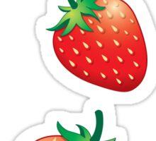 3 Strawberries fruit down Sticker