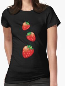 3 Strawberries fruit down Womens Fitted T-Shirt