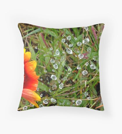 Flowers and Spiders Throw Pillow