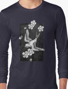 Sparrow Through Blossoms Long Sleeve T-Shirt