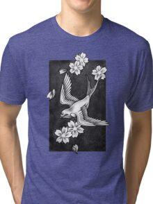 Sparrow Through Blossoms Tri-blend T-Shirt