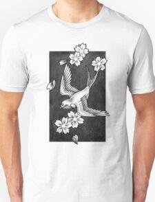 Sparrow Through Blossoms Unisex T-Shirt