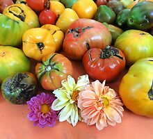 Heirloom tomatoes  and flowers  by Eugenia Gorac