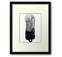 BLACK WOLF BARCODE in the woods illustration Framed Print