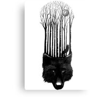 BLACK WOLF BARCODE in the woods illustration Metal Print