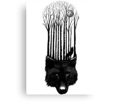 BLACK WOLF BARCODE in the woods illustration Canvas Print