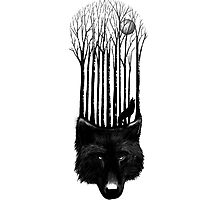 BLACK WOLF BARCODE in the woods illustration Photographic Print