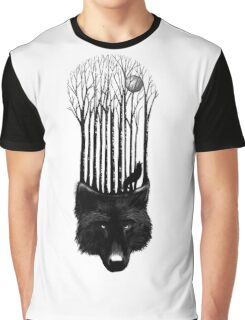 BLACK WOLF BARCODE in the woods illustration Graphic T-Shirt