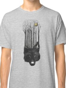 BLACK WOLF BARCODE in the woods illustration Classic T-Shirt