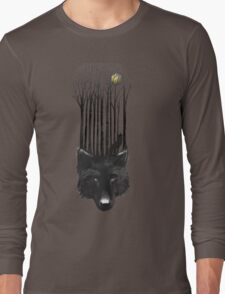 BLACK WOLF BARCODE in the woods illustration Long Sleeve T-Shirt