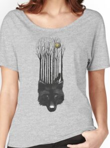 BLACK WOLF BARCODE in the woods illustration Women's Relaxed Fit T-Shirt