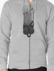 BLACK WOLF BARCODE in the woods illustration Zipped Hoodie