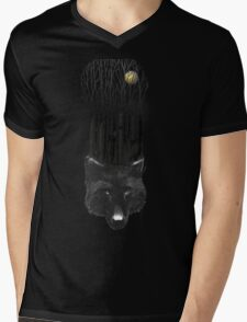 BLACK WOLF BARCODE in the woods illustration Mens V-Neck T-Shirt